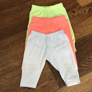 👶9mo Carter's Set of 3 Capri Leggings Neon